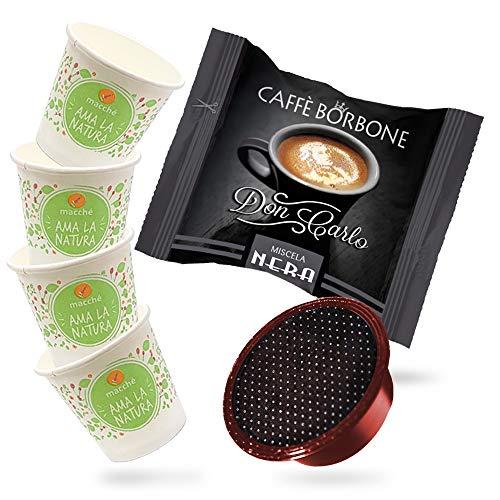 200 Capsule Compatibili A Modo Mio Caffe\' Borbone Don Carlo Nera + Bicchierini in carta Macché