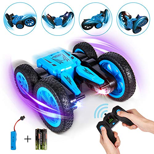 Crenova 1176A All-Direction RC Car for Kids, 1:24 4WD 2.4GHz Rechargeable Stunt Car Toy 7.5MPH 2-Sided Driving, 360° Spin & Tumble with Colorful LED Headlights