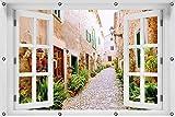 Wallario Garten-Poster Outdoor-Poster ca. 100 x 150 cm mit Fensterrahmen, Südländische Gasse mit Alten Häusern und grüner Oase in Premiumqualität, für den Außeneinsatz geeignet
