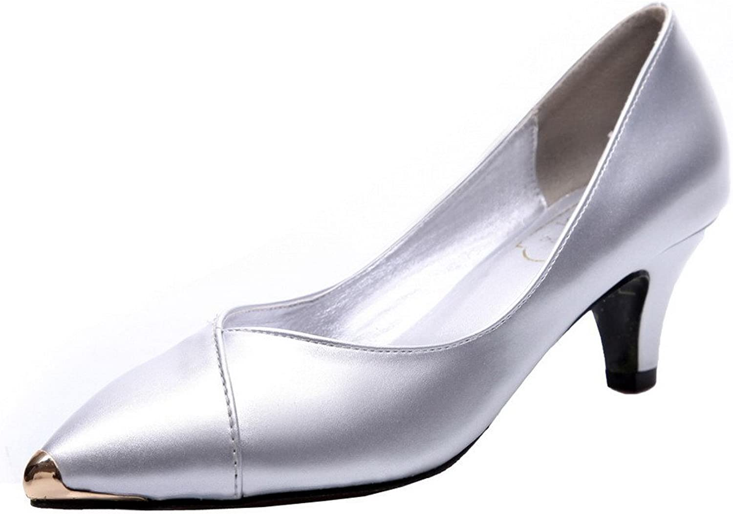 WeiPoot Women's Patent Leather Kitten-Heels Solid Pull-On Pumps-shoes