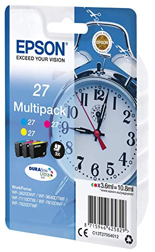 Epson 27 Serie Sveglia, Cartuccia Originale Getto d'Inchiostro DURABrite Ultra, Formato Standard, Multipack 3 Colori, con Amazon Dash Replenishment Ready