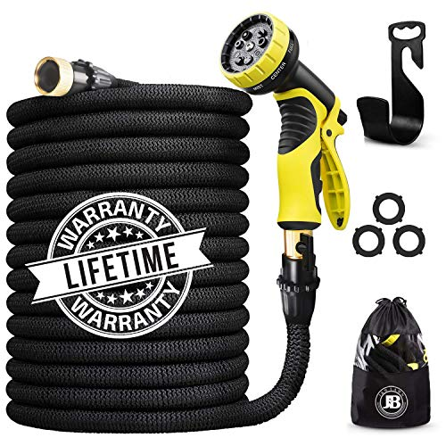 J&B XpandaHose 75ft Expandable Water Garden Hose with Holder - Heavy Duty Triple Layered Latex Core and Free 10 Spray Nozzle with Storage Bag (Black, 75)
