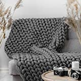 LaoJee Chunky Knit Blanket Merino Wool Blend Handmade Soft Bulky Throw Sofa Chair Home Decor Giant Yarn,Dark Grey,32'x32'