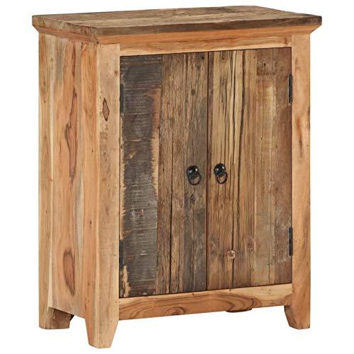 Festnight Holz-Sideboard Schrank Beistellschrank Wohnzimmertisch Standregal Standregal Mehrzweckschrank 60x33x75 cm Akazie und Recyceltes Massivholz