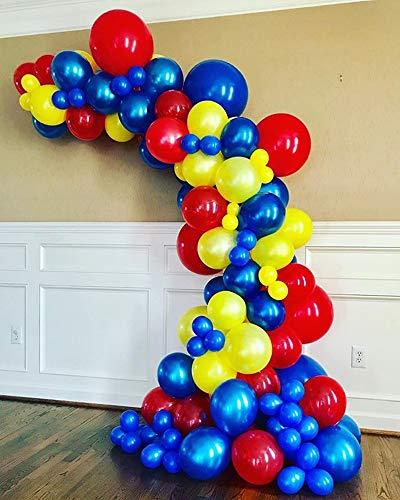 100Pcs Balloon Garland & Arch Kit for Superhero Party-100pcs Blue Yellow Red Green Latex Balloons, 16 Feets Arch Balloon Strip for Spiderman Birthday Baby Shower Decorations