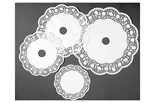 Hobbybäcker.de Tortenpapier Spitze weiß, Tortenspitzen für Hochzeitstortenständer 3 Etagen, Tortenspitzen 32 cm & 26 cm & 21 cm, 3 x 5 Stück