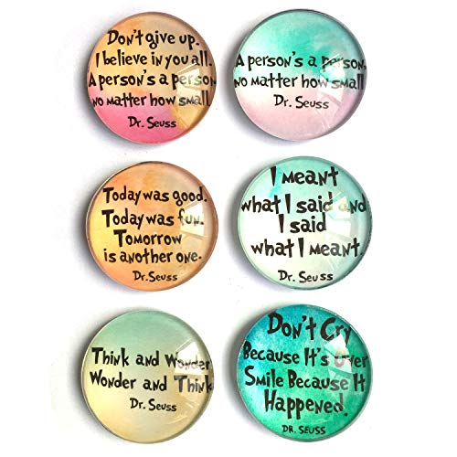 Dr. Seuss inspirational Refrigerator Magnets, set of six 4x4cm Dr. Seuss gifts for kids, Whiteboard Magnets for classroom or Locker