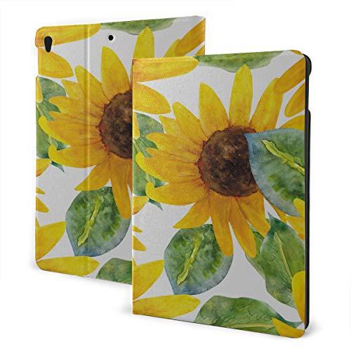 Girl Ipad Case 2019 Ipad Air3/2017 Ipad Pro 10.5 Inch Case/2019 Ipad 7th 10.2 Inch Case Yellow Sunflower Watercolor Painting Ipad Cover Protection Auto Wake/sleep