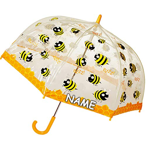 alles-meine.de GmbH Regenschirm Biene incl. Name - Kinderschirm transparent Ø 70 cm - Kinder Stockschirm - für Mädchen Jungen Schirm Kinderregenschirm / Glockenschirm Bienen Blum..