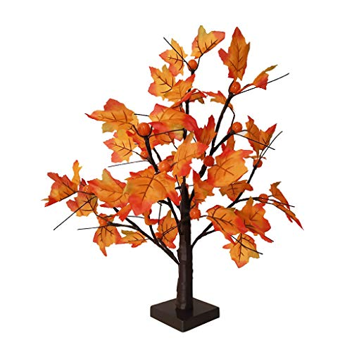 Toimothcn 24 LED Tabletop Lighted Maple Tree Battery Operated Thanksgiving Table Decoration Lights Maple Leaves Autumn Tree (Multicolor)