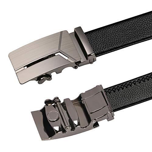 flintronic Men's Leather Belt, Automatic Buckle Leather Ratchet Belt 3.5cm * 125cm (Keychain & Gift Box Include)
