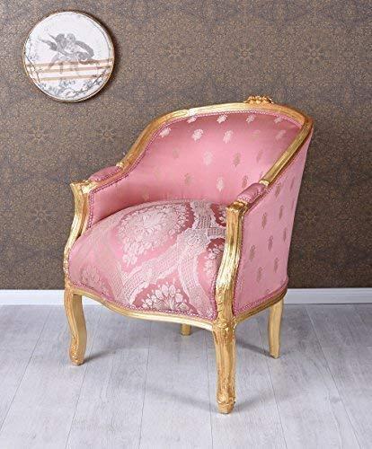 Barockstuhl Sessel Gold Rosa Bergere Barock Armlehnstuhl Antik Prunksessel Palazzo Exklusiv