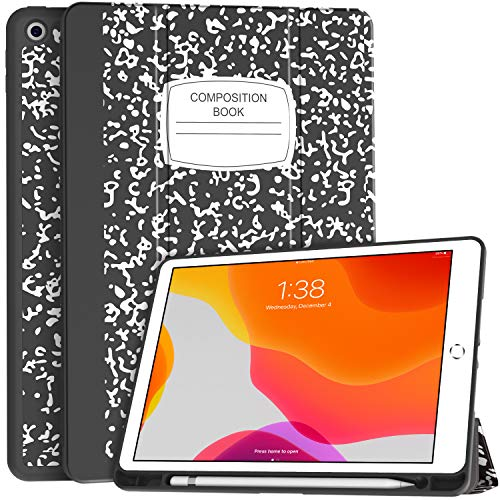 Soke New iPad 7th Generation 10.2' Case 2019 with Pencil Holder, Premium Shockproof Case with Soft TPU Back Cover, Auto Sleep/Wake Function for Apple iPad 7th Gen 10.2 Inch, Book Black