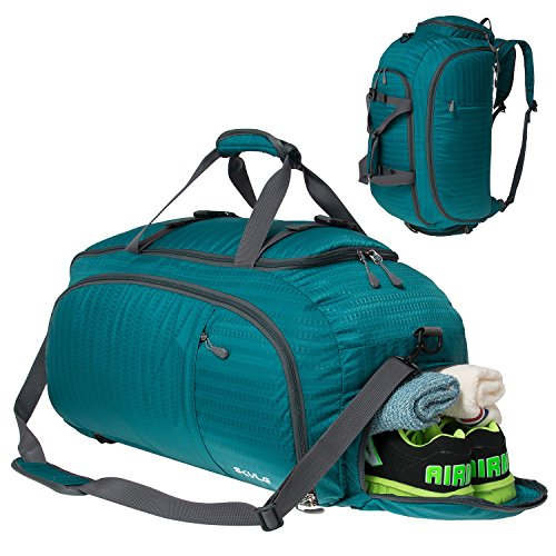 SKYLE 3-Way Gym Sport Bag Travel Duffel Bag Backpack with Shoe Compartment Cyan