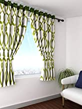 Cortina Art Circles Eyelet Polyester Window Curtain - 5 ft, Green