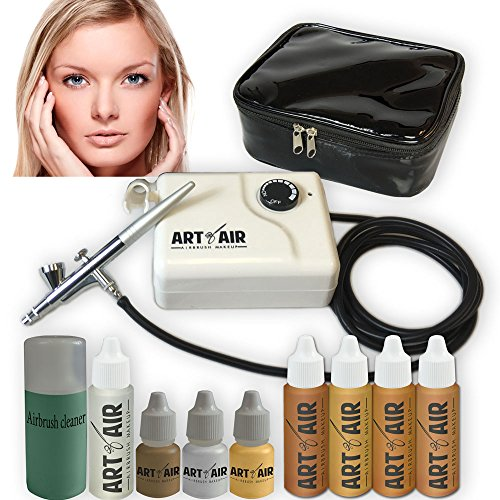 Art of Air MEDIUM Complexion Professional Airbrush Cosmetic Makeup System / 4pc Foundation Set with Blush, Bronzer, Shimmer and Primer Makeup Airbrush Kit