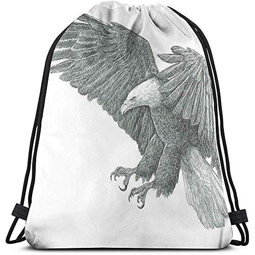 Trekkoord Rugzak Tassen Sport Gym Cinch Tas, Zwart En Wit Potlood Tekenen Stijl Eagle Met Gedetailleerde Kenmerken Wild Nature
