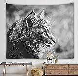 Tapiz para colgar en la pared Lindo gato emoticon con hermoso mandala pelo de playa tapiz bohemio Mandala (M / 130x150cm franela)