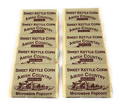 Amish Country Popcorn - Old Fashioned Microwave Popcorn - Gluten Free, and Non GMO with Recipe Guide (Sweet Kettle White Hulless, 10 Bags)