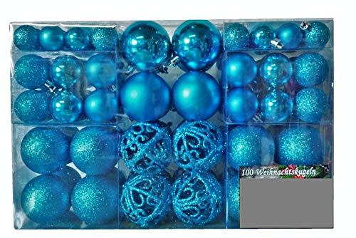 100 palline di Natale blu scuro per albero di Natale fino a Ø 6 cm con gancio in metallo