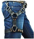 keland Arnés de cuero negro punk sexy jaula Cinturón de ligadura de muslo para mujeres o hombres (Negro-B)