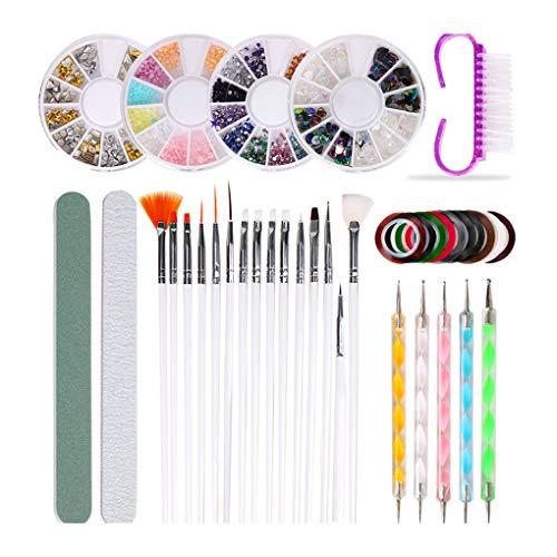 Yihaifu 10pcs / set Nagelbürste Punktierung Pen Polieren Rasp Kit Nail Art Dekoration Striping Tape-Strass Suquie Glitters