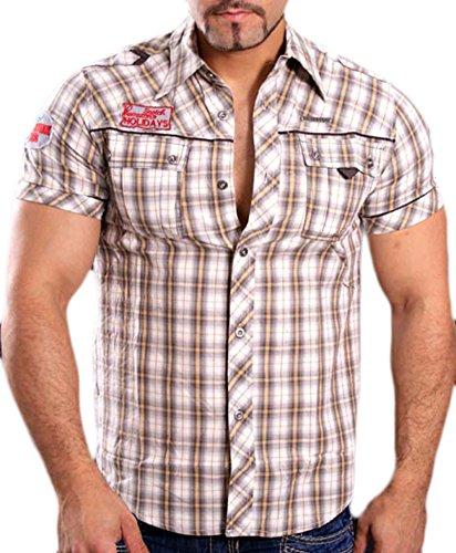 GOV Denim Herren Kurzarm Karo-Hemd Slim Fit Poloshirt Kariert Shirt Beige 8305, Größen:S