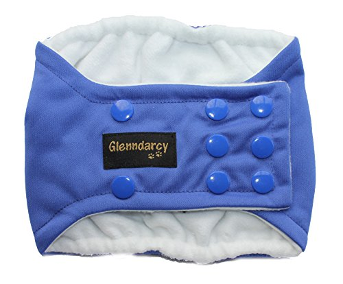 Glenndarcy Couches de Chien mâle - Incontinence urinaire - Poppers - True Blue Small Band & 2 Washable Pads