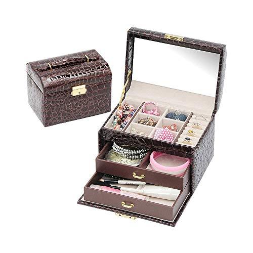 LKNJLL Caja de joyería, Anillo Pendientes Accesorios de Acabado Mujeres de la Caja, Regalos de cumpleaños de Vacaciones, fácil de Llevar
