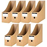 HAKACC 7 PCS Kraft Magazine File Holder, Desk Storage Organizer Magazine Storage with Blank Label Stickers for Office Home