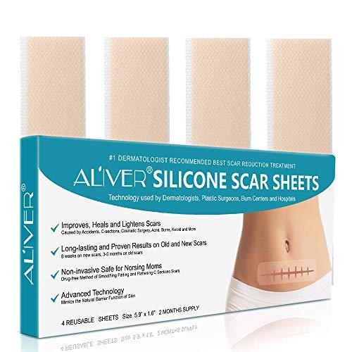 Hojas de silicona profesional para cicatrices causadas por C-section, cirugía, quemar, Keloid, acné, y más, tiras de tela adhesivas suaves, sin goteo