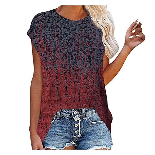 Damen T-Shirt Kurzarm Drucken Sommer Oberteile Loose Tee Tops Casual Rundhals Shirt Hemd Bluse Bequem Pullover Mode Tunika Kurzärmliges Longshirt Sweatshirt für Frauen Teenager Mädchen