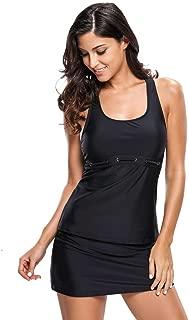 Black Racerback Tankini 2pcs Skort Swimsuit