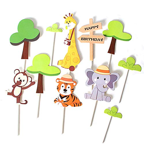 pcs Zoo Cute Forest Animal Cake Toppers for Kid`s Birthday Decoration Monkey Giraffe Tiger Lion Cupcake Toppers Birthday Cakes-Paper_Cake_topperX11
