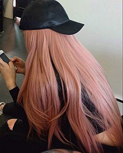 Perruques roses naturelles synthétiques avec dentelle frontale pour femme - Longue perruque pour fête, cosplay, mariage - 55,9 cm