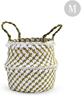 Taimot Woven Seagrass Belly Basket For Storage Toy Basket Or Plant Basket Decorative Storage Basket, Seagrass Wicker Basket Wicker Basket Flower Pot Folding Basket Dirty Basket For Living Laundry Room