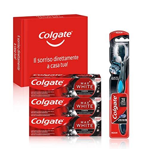 Colgate, Kit Sbiancante Al Carbone, Dentifricio Colgate Max White Carbon Sbiancante 75 ml e Spazzolino Colgate 360 Carbon, Ecocert, Vegan - Tripacco