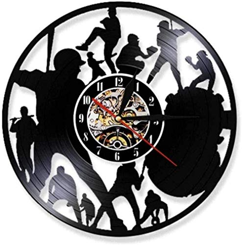 youmengying Co.,ltd Relojes De Pared Reloj De Pared con Disco De Vinilo para Jugar Al Béisbol, Lámpara De Pared, Movimiento De Silueta De Jugador para Amantes del Béisbol, Reloj Silencioso De Regalo
