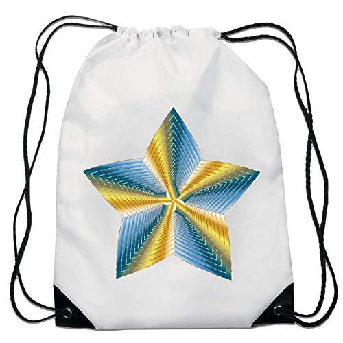 Cosmic Zest Blue and Yellow Artwork Top Drawstring Bag