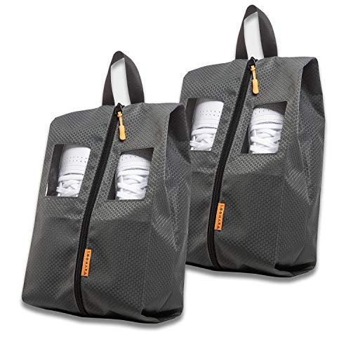 Schuhtasche Reise wasserfest [2-teilig] aus recycelten Plastikflaschen - für Trennung von Kleidung und Schuhen auf Reisen (schmutzabweisend) - Schuhbeutel mit Sichtfenster zum Erkennen von Schuhen