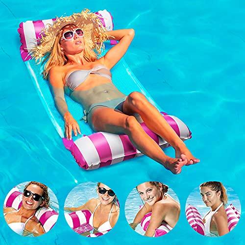 LOVEXIU Schwimmbett, Wasserhängematte, Schwimmmatratze, Luftmatratze Pool, Schwimmbett 4-in-1 Wasser Faltbare Pool für Erwachsene und Kinder