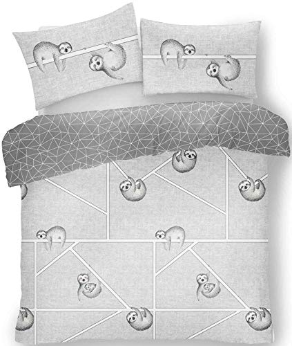 FAIRWAYUK Bedding - Single Duvet Cover Set, 2 Piece Ultra Soft Hypoallergenic Quilt Cover, Reversible Poly-Cotton Bed Set + 1 Pillowcase, Sloth-Duvet-Grey
