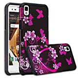Wydan Case for LG Tribute HD Case, Volt 3 Case, X Style - Fusion High Impact Hybrid Hard Gel Shockproof Cover - Heart Flower - Black Pink