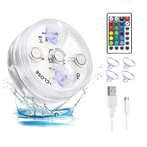 Kasachoy Luces LED sumergibles con mando a distancia, luces de piscina bajo el agua, luces LED RGB multicolor cambian de color para jarrones, acuarios, jardines, piscinas, decoración de acuarios