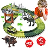 HOMOFY Dinosaur Toys 142 Pcs Flexible Car Race Tracks with 2 Dinosaurs 2,1