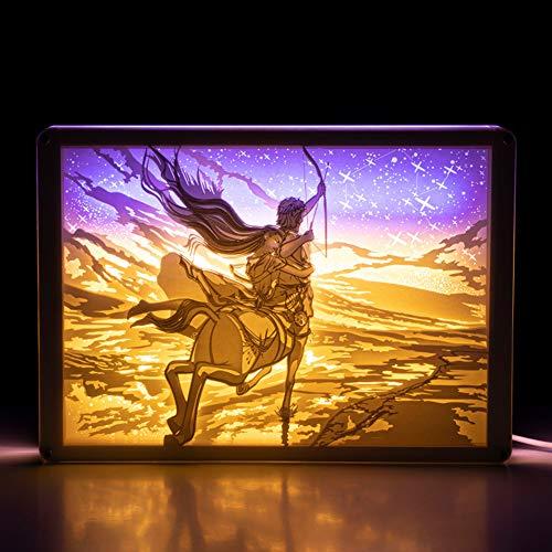 JZH-Light 3D nachtlampje twaalf sterrenbeelden beschermer tafel bureaulamp afstandsbediening licht optisch illusie 3D met acrylglas & USB-kabel voor Kerstmis verjaardagscadeau