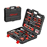 POPULO 173 Piece Hand Tool Set, Basic Home Tool Kit with Tool Box, Socket Set, Screwdriver, Hammer, Pliers, Wrench and etc, Household Tool Kit for Apartment, Car, Mechanics, Handyman