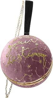 LEKODE Women Simple Shoulder Bag Ladies Embroidery Suede Travel Party Letter Sky Handbag(Pink)