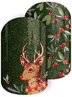 Jamberry Nail Wraps - Christmas Charm - Full Sheet - Reindeer, Holly & Ivy, Green & Red Sparkle