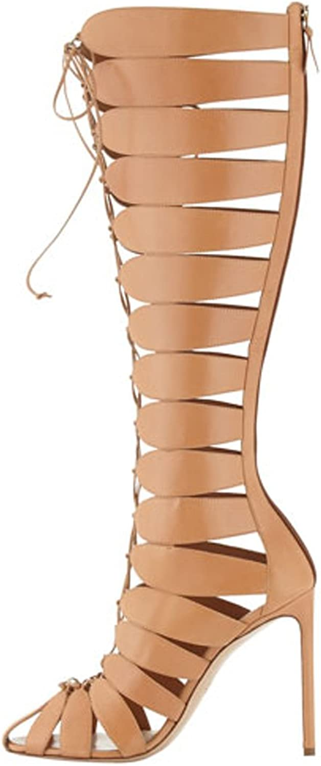 Women's Stiletto Gladiator Sandals Lace Up Cross Stripe Peep Toe Over The Knee High Thin Heel Boots Brown